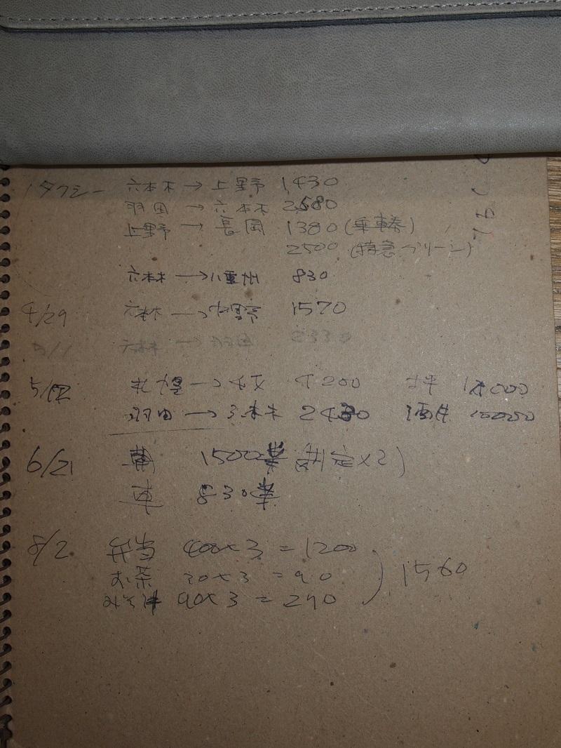 お宝ノートの裏には当時のタクシーの値段が。六本木~八重洲830円。今では3倍?